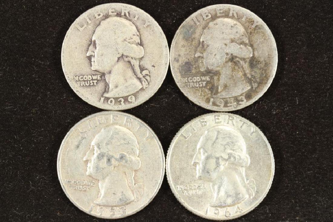 1939,43,53 & 64-D WASHINGTON SILVER QUARTERS