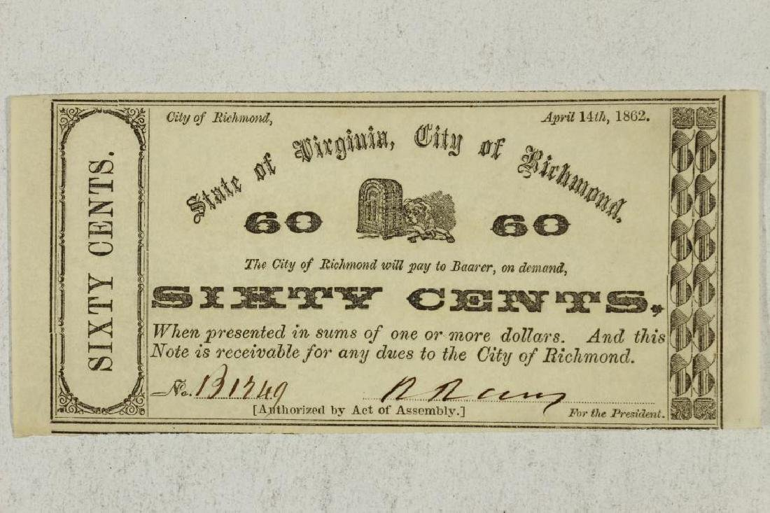 1862 STATE OF VIRGINIA, CITY OF RICHMOND 60 CENT