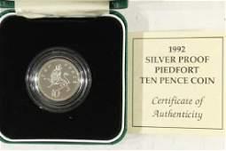 1992 UNITED KINGDOM SILVER PROOF PIEDFORT 10
