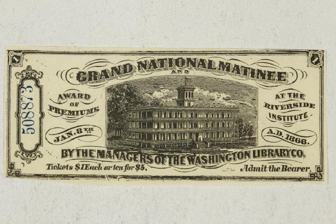 1868 GRAND NATIONAL MATINEE $1 ADMISSION TICKET