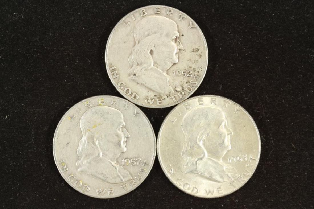 1952-D,57-D & 63-D FRANKLIN HALF DOLLARS