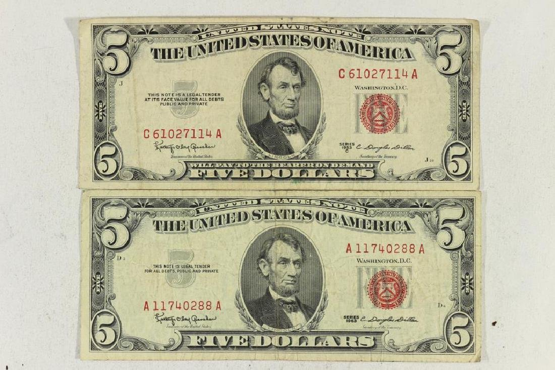 1953-C & 63 $5 US NOTES RED SEALS