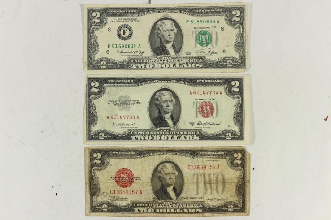 NICE STARTER SET OF $2 US BILLS 1928-D RED SEAL,