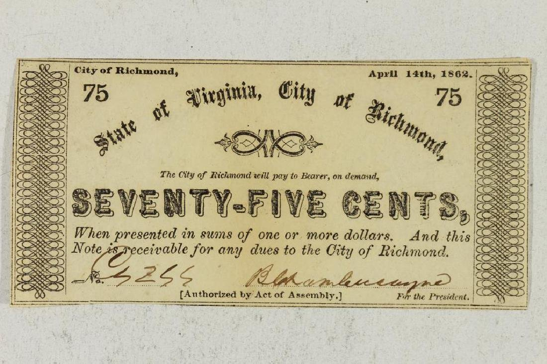 1862 STATE OF VIRGINIA, CITY OF RICHMOND 75 CENT