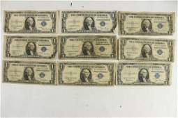9 ASSORTED 1935 1 SILVER CERTIFICATES