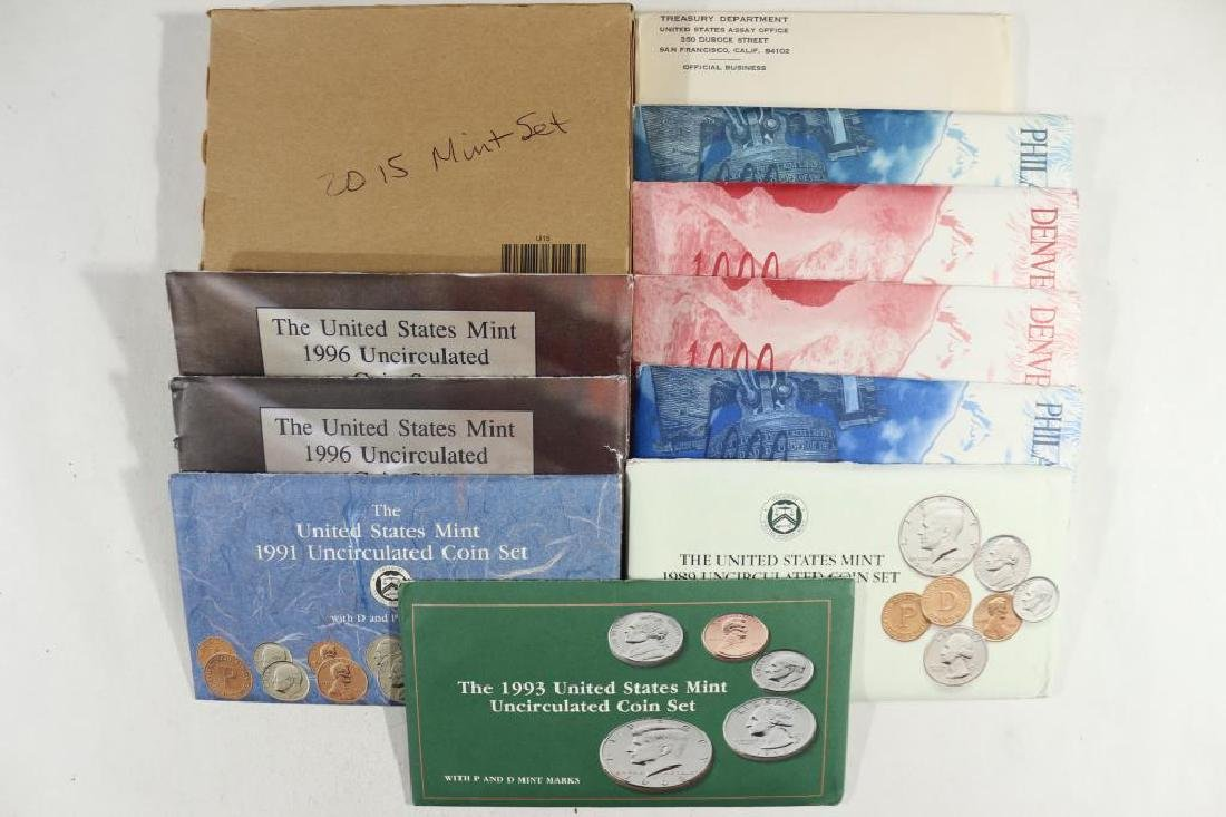 LOT OF 9-US MINT SETS WITH PACKAGING SEE DESCRIPT.