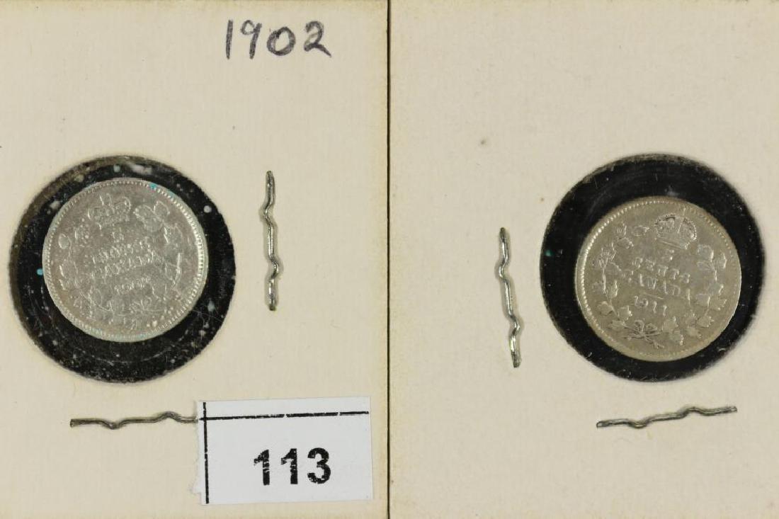 1902 & 1911 CANADA SILVER 5 CENTS