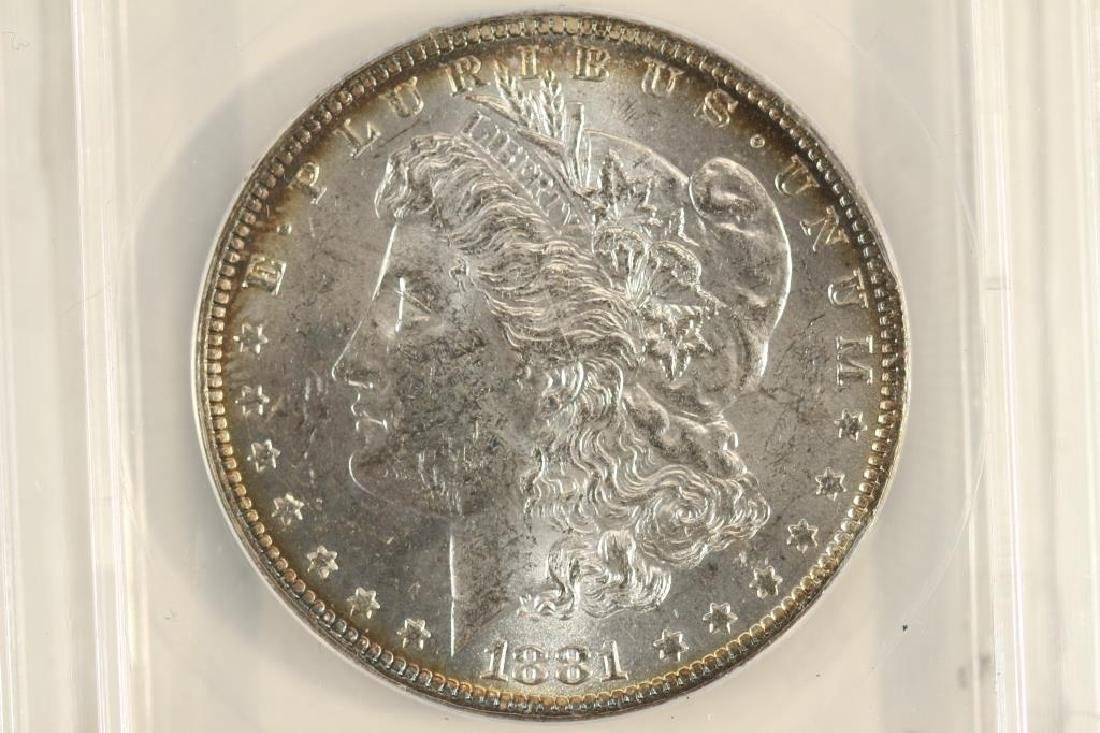 1881-O MORGAN SILVER DOLLAR ANACS MS61