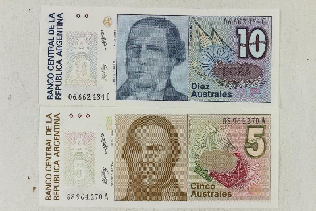 ARGENTINA 5 & 10 AUSTRALES CRISP UNC NOTES