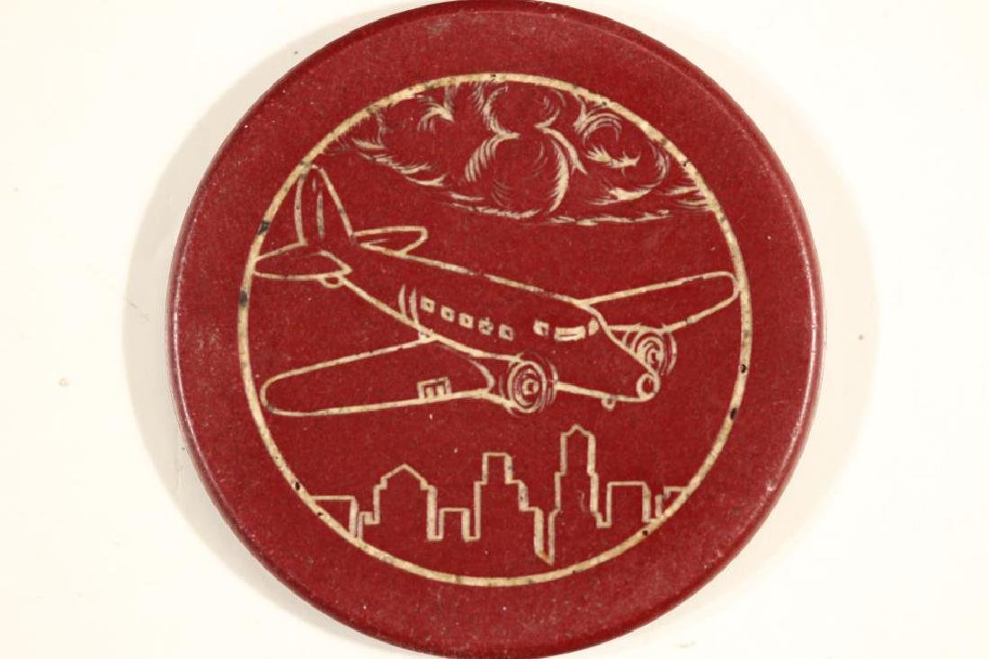 VINTAGE POKER CHIP MAROON WITH ENGRAVED AIRPLANE