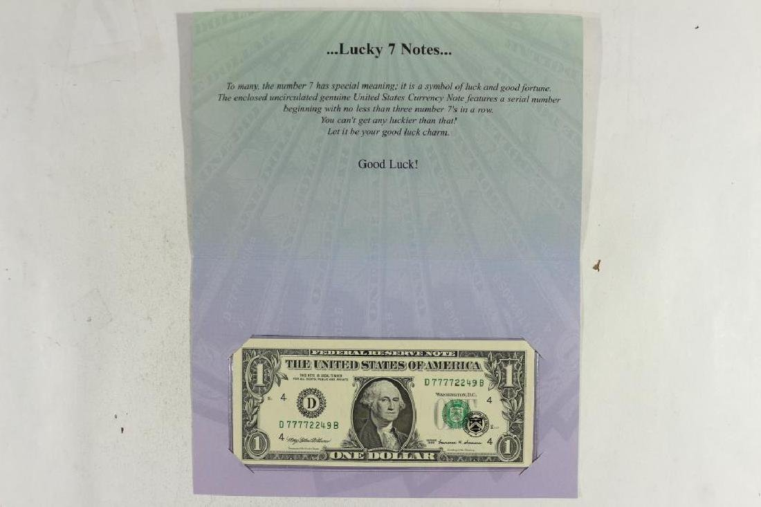 LUCKY 7'S NOTE 1999 $1 FRN WITH SERIAL NUMBER