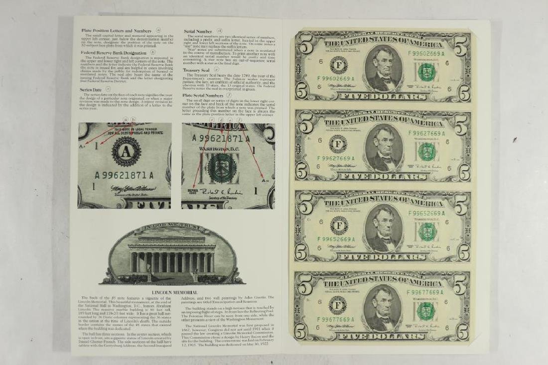 UNCUT SHEET OF 4-1995 $5 BILLS ATLANTA DISTRICT