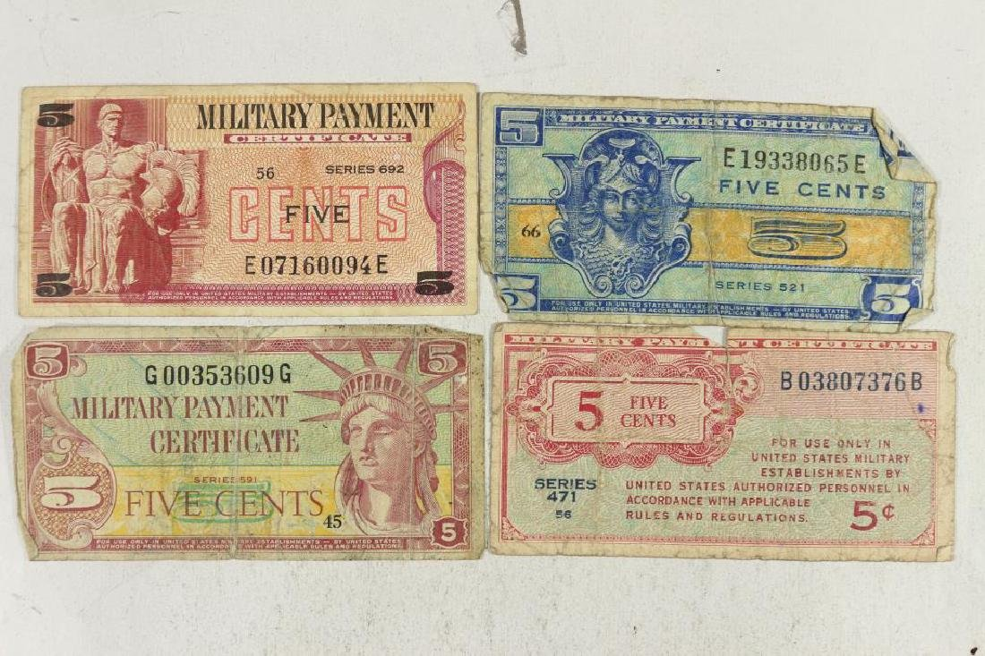 4 PIECES OF WWII US MILITARY PAYMENT CERTIFICATES