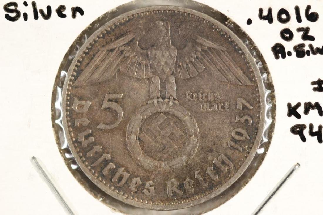 1937-D GERMAN SILVER 5 MARK WITH SWASTIKA