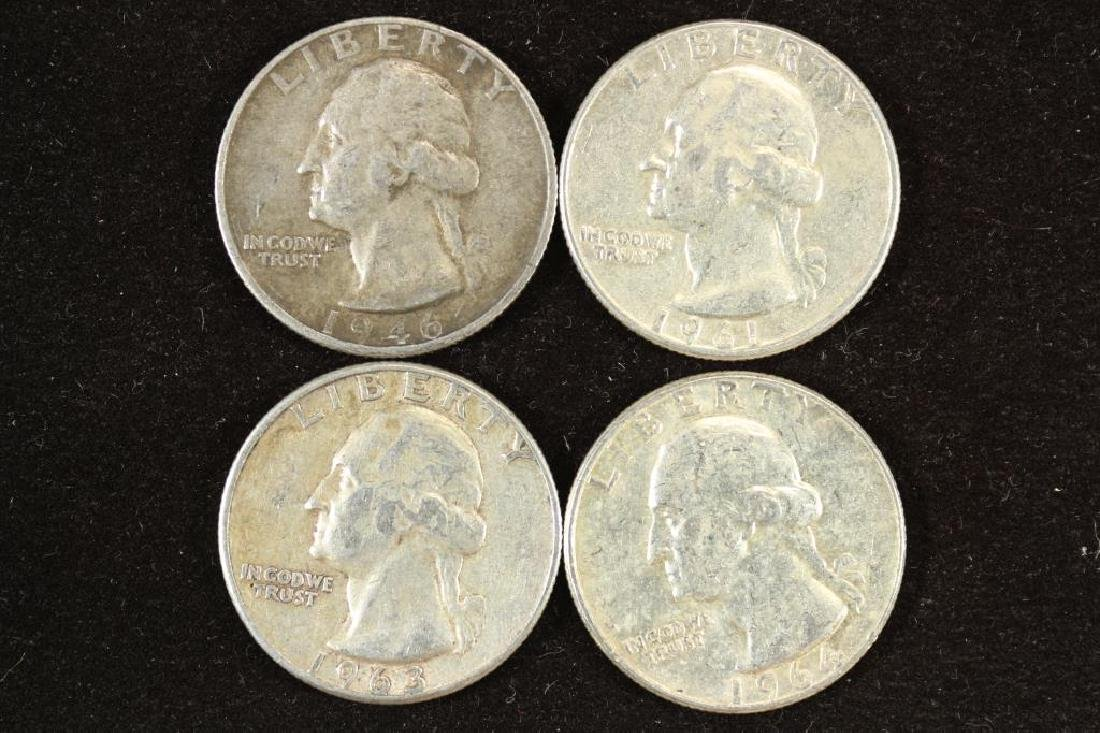 1946-D,61-D,63 & 64 WASHINGTON SILVER QUARTERS