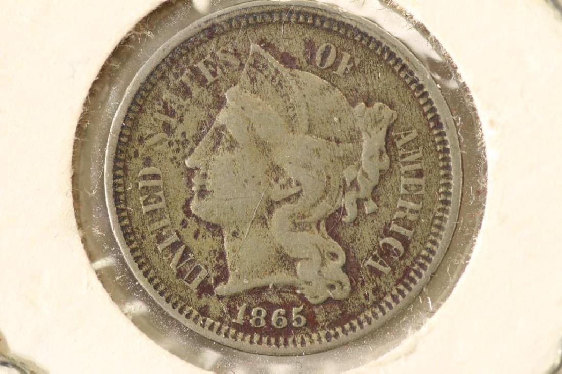 1865 THREE CENT PIECE (NICKEL) REV. SCRATCHES