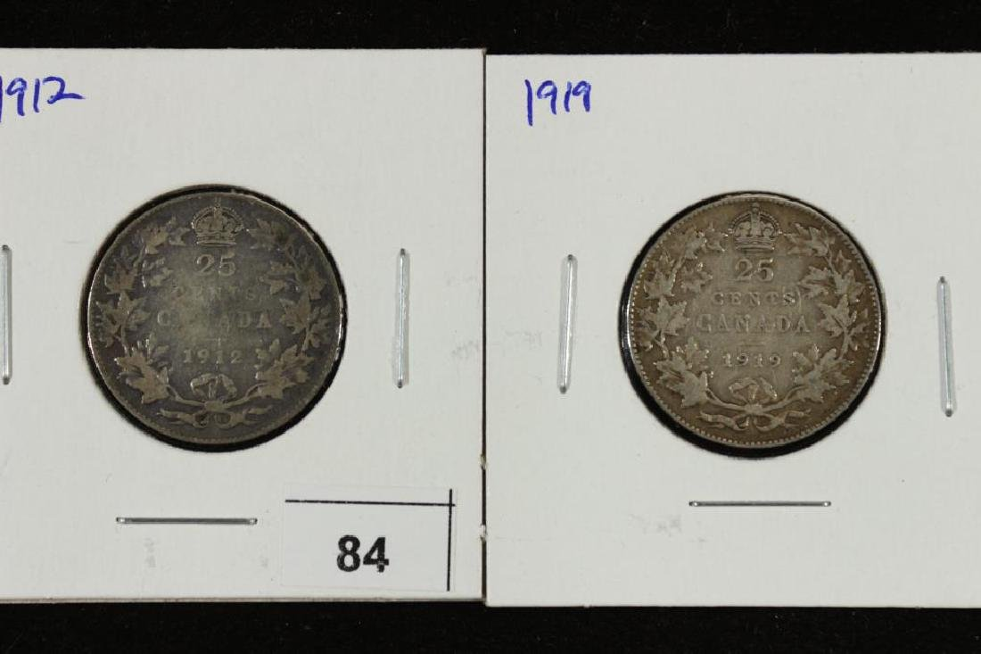 1912 & 1919  CANADA SILVER 25 CENTS