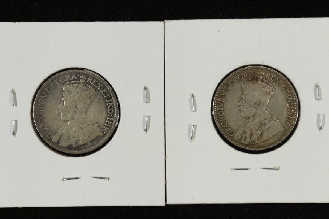 1912 & 1919  CANADA SILVER 25 CENTS - 2