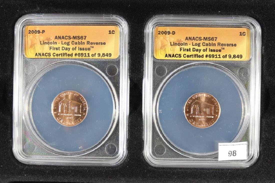 2009-P & D LOG CABIN LINCOLN CENTS ANACS MS67