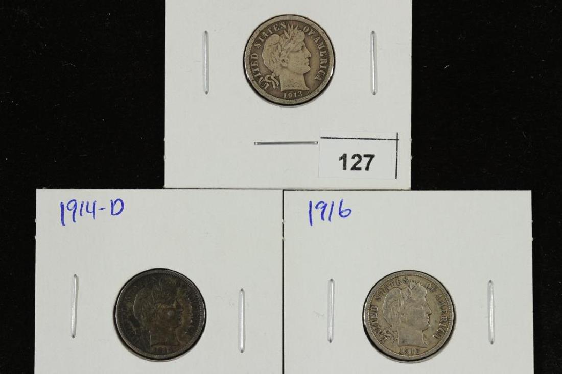 1913,14-D & 16 BARBER DIMES ALL FINES