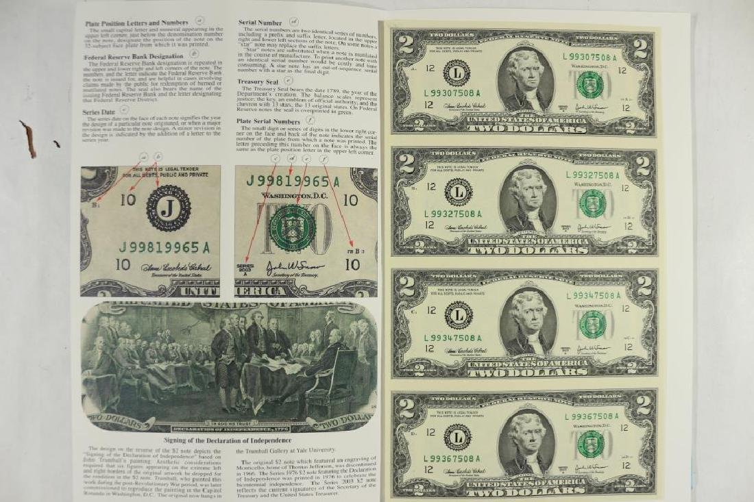 UNCUT SHEET OF 4-2003-A $2 FRN'S SAN FRANCISCO