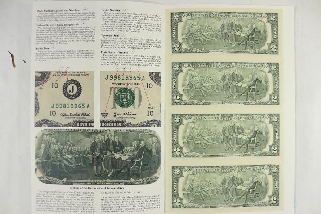 UNCUT SHEET OF 4-2003-A $2 FRN'S SAN FRANCISCO - 2