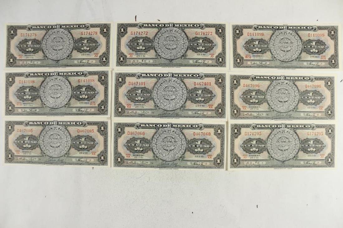 9-1961 BANK OF MEXICO 1 PESO NOTES CRISP UNC