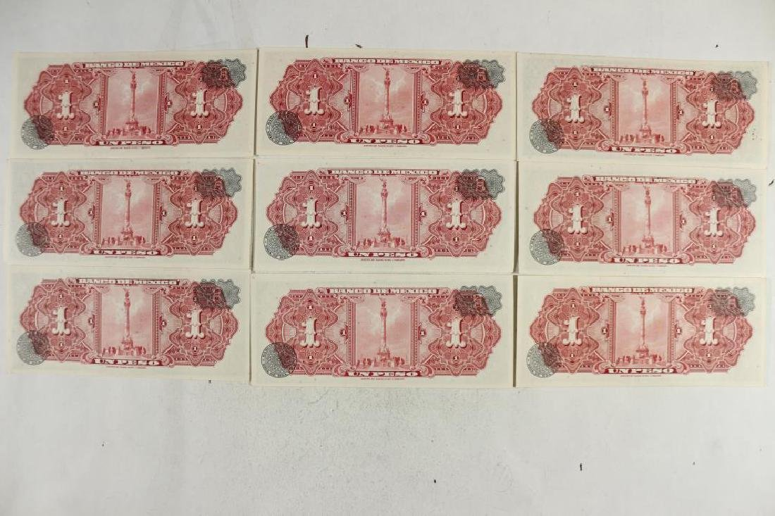 9-1961 BANK OF MEXICO 1 PESO NOTES CRISP UNC - 2