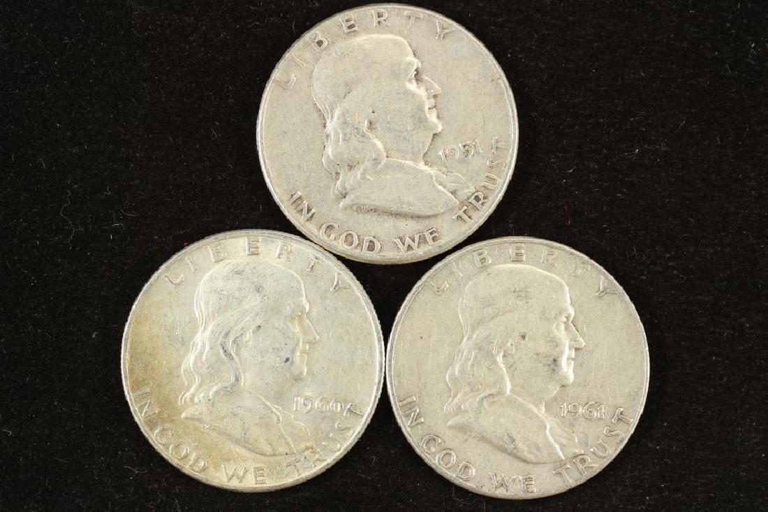 1951,60-D & 61-D FRANKLIN HALF DOLLARS