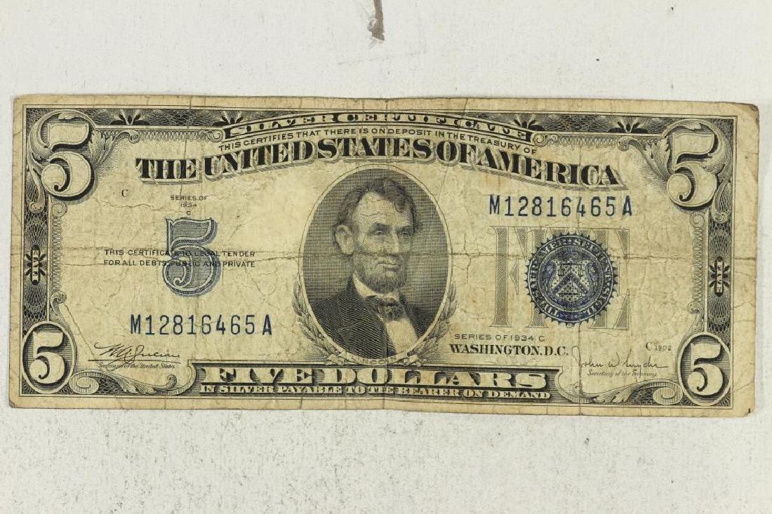 1934-C $5 SILVER CERTIFICATE BLUE SEAL