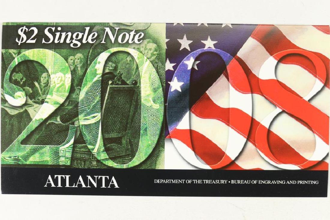2003-A ATLANTA $2 SINGLE NOTE SERIAL # STARTS 2008 - 2