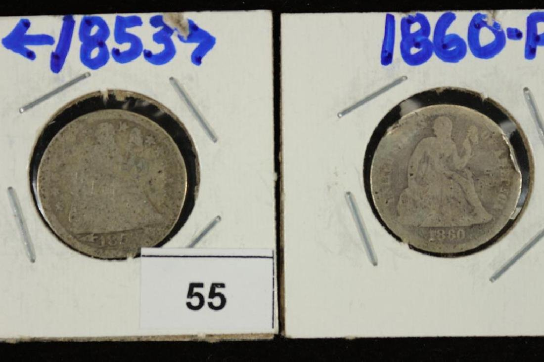 1853 WITH ARROWS AND 1860 SEATED LIBERTY DIMES