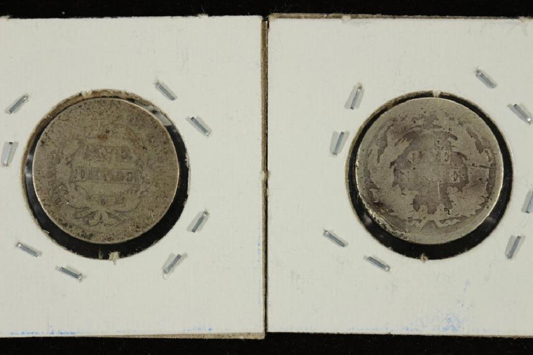 1853 WITH ARROWS AND 1860 SEATED LIBERTY DIMES - 2