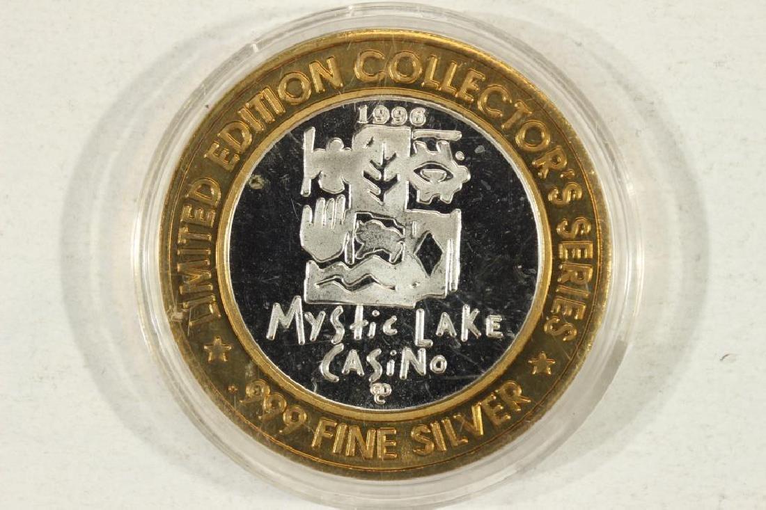 $10 SILVER CASINO TOKEN 1996 MYSTIC LAKE CASINO - 2