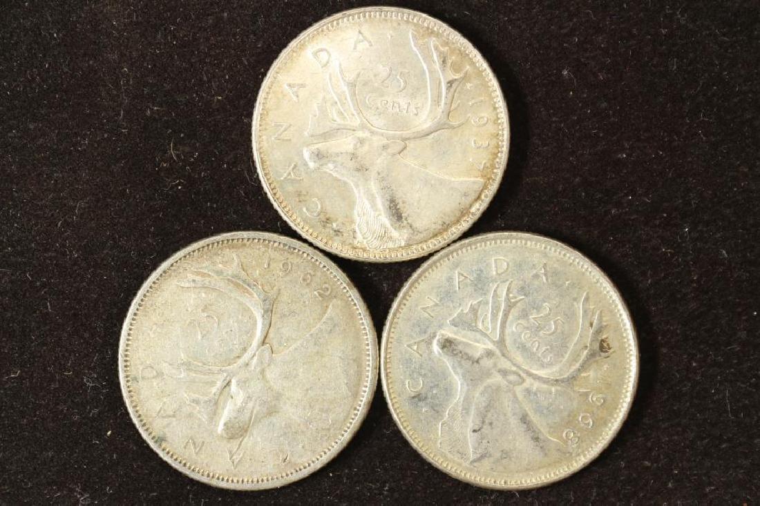 1937,1962 & 1968 CANADA SILVER 25 CENTS