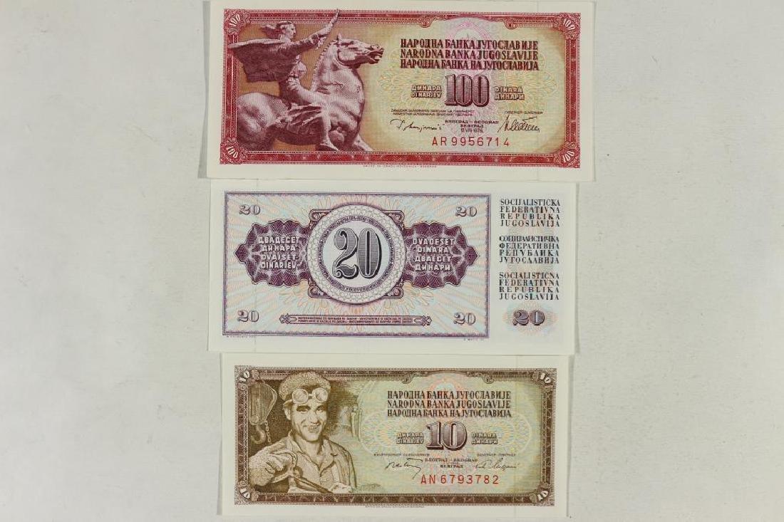 YUGOSLAVIA 1978-10,20 & 100 DINARA'S CRISP UNC