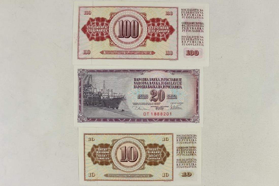 YUGOSLAVIA 1978-10,20 & 100 DINARA'S CRISP UNC - 2