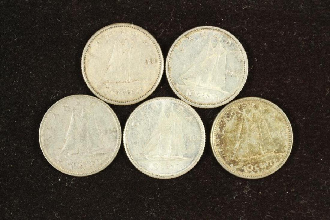 5 ASSORTED CANADA SILVER 10 CENTS