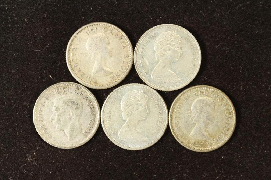 5 ASSORTED CANADA SILVER 10 CENTS - 2