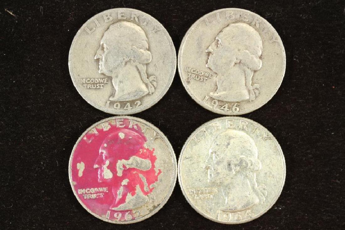 1942-D,46,62-D & 64 WASHINGTON SILVER QUARTERS