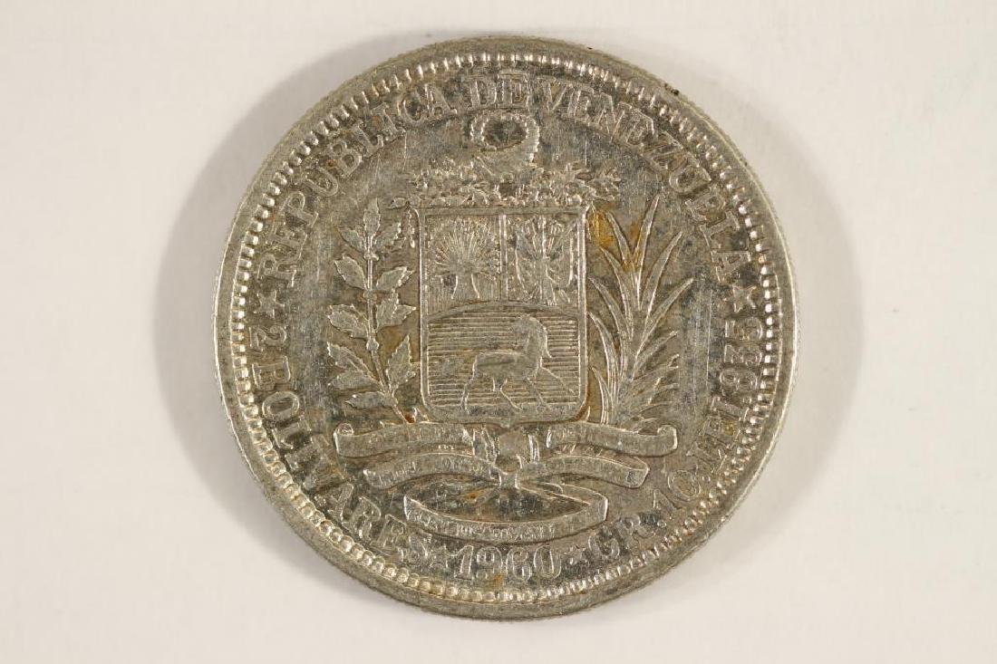 1960 VENEZUELA SILVER 2 BOLIVARES - 2