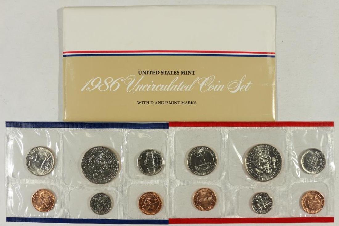 1986 US MINT SET (UNC) P/D (WITH ENVELOPE) - 2