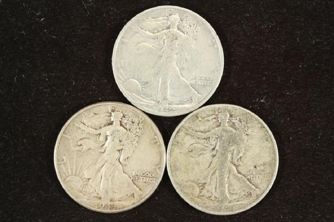 1942-S,43 & 47-D WALKING LIBERTY HALF DOLLARS