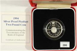 1994 GREAT BRITAIN SILVER PROOF PIEDFORT 2 POUND