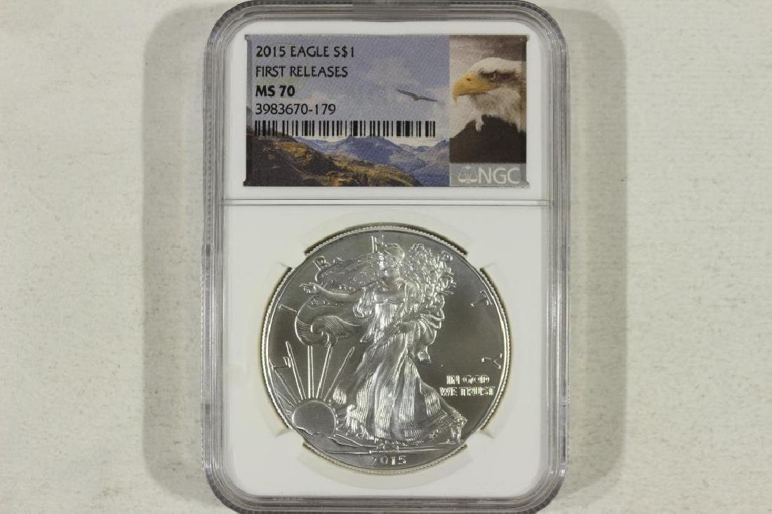 2015 AMERICAN SILVER EAGLE NGC MS70 1ST RELEASES