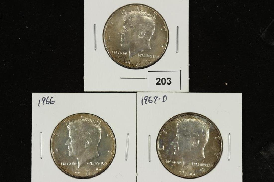 1965,66 & 69-D 40% SILVER JOHN F. KENNEDY HALVES