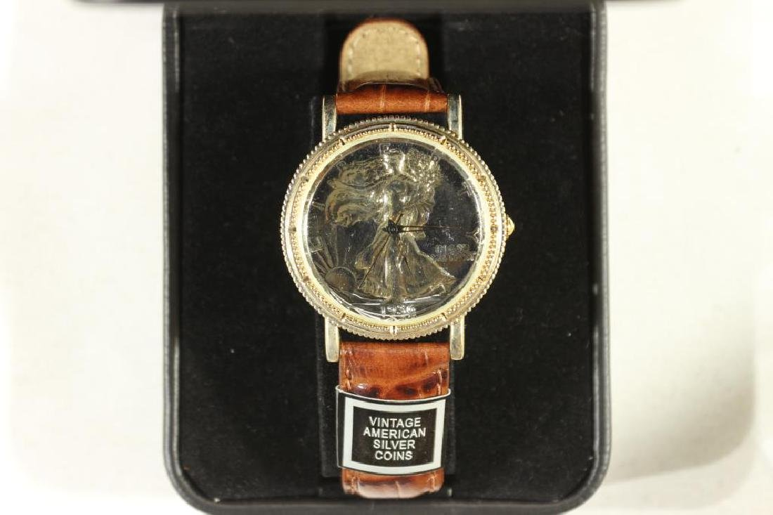 QUARTZ WATCH WITH VINTAGE AMERICAN SILVER COIN