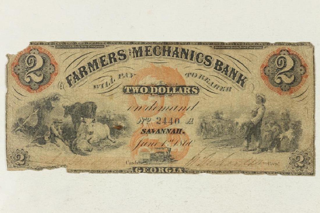 1860 FARMERS AND MECHANICS BANK, SAVANAH