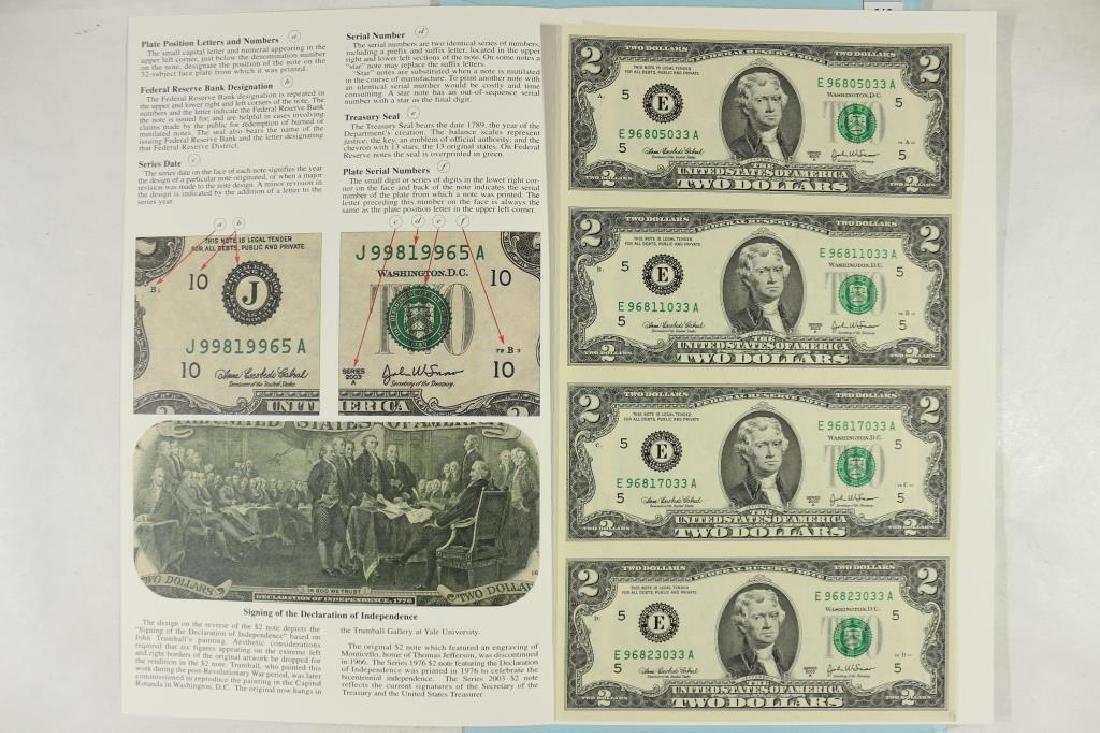 UNCUT SHEET OF 4-2003-A $2 FRN'S CRISP UNC