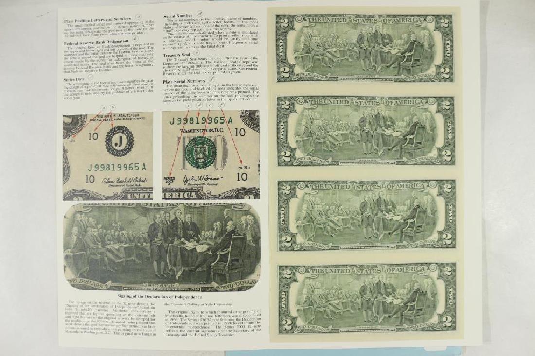 UNCUT SHEET OF 4-2003-A $2 FRN'S CRISP UNC - 2